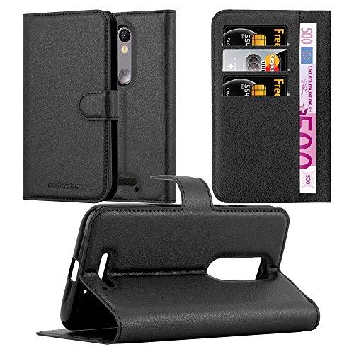 Cadorabo Hülle für Motorola Moto X Force - Hülle in Phantom SCHWARZ – Handyhülle mit Kartenfach und Standfunktion - Case Cover Schutzhülle Etui Tasche Book Klapp Style