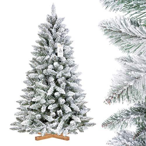FairyTrees Artificial Árbol de Navidad Artificial Picea, Flocado con Copos DE Nieve, el Tronco Verde, Material PVC, Soporte de Madera,...