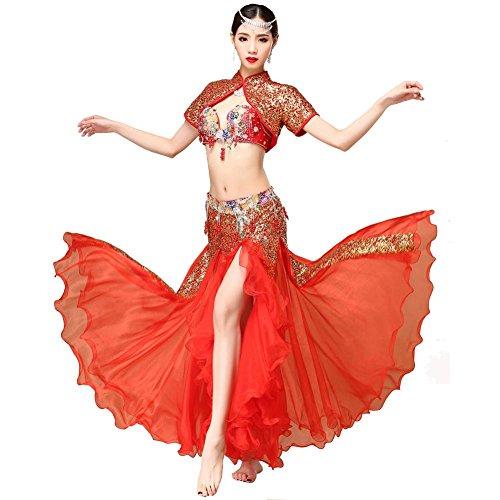 Wgwioo Dance costumes Bauch tanzen Performance Frau Handmade perlen Pailletten Blume Stickerei BH mäntel reißverschluss Rock modern trainieren kostüm red m