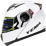 YEMA Helmet YM-925 Casco Moto Modular con Doble Visera-Blanco-XL