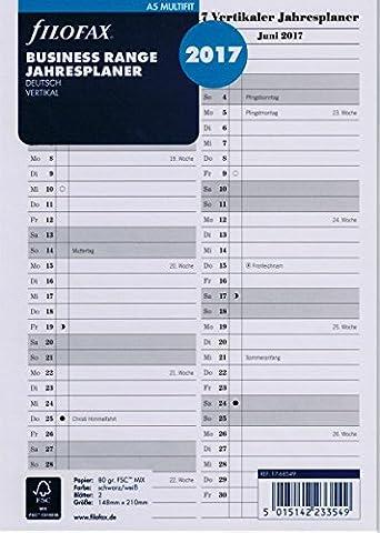 Filofax 17-68549 A5 Multi Jahresplaner vertikal, deutsch 2017 Kalendereinlage, weiß