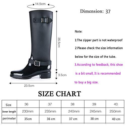 9707c6afeeb3a LILY999 Stivali di Gomma Donna Antiscivolo Impermeabile Neve Festival Alti  Pioggia Stivali Regolabile Zip Fibbia Rain Boot Wellington Boot(Nero