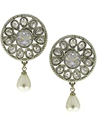 Anuradha Art Round Shape Styled With Sparkling Stone & Pearl Bead Droplet Designer Earrings For Women/Girls