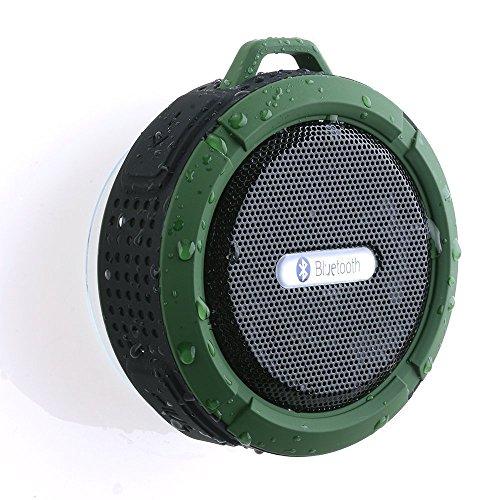 AGPtek® Bluetooth Lautersprecher Tragbar Wasserdicht Mini Bluetooth 3.0 Außen-Lautsprecher mit Saugnapf USB Büchse ankuppeln Bass (Freisprecheinrichtung, integriertes Mikrofon Oliv)für iPhone Ipad Samsung Galaxy Huawei Tablets Laptop PC