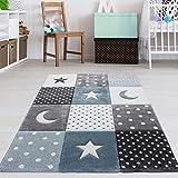 Kinderteppich Mond & Sterne Blau Grau Pastell Größe 120 x 170 cm