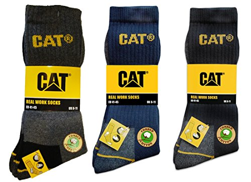 Caterpillar CAT Herren Universal Arbeitssocken, 3|6|9|12 Paar MEGA-Farbauswahl in Schwarz, Blau, Grau und 41-45 | 46-50 (Übergröße), Socken (46-50, 24 Paar Schwarz)