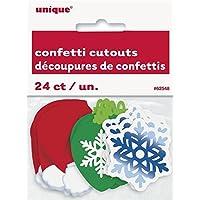 Christmas confetti Cut out x 24–Cappello da Babbo Natale, fiocco di neve e ornamenti