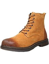 5c9686de4 YuanDian Hombre Invierno Casual Ante Sintética Piel Forro Martin Botas  Botines Cálido Cordones Militares Cuero Boots
