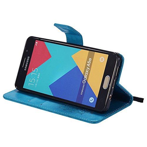 Für Samsung Galaxy A510 Fall, Prägen Sonnenblume Magnetische Muster Premium Soft PU Leder Brieftasche Stand Case Cover mit Lanyard & Halter & Card Slots ( Color : Blue ) Blue