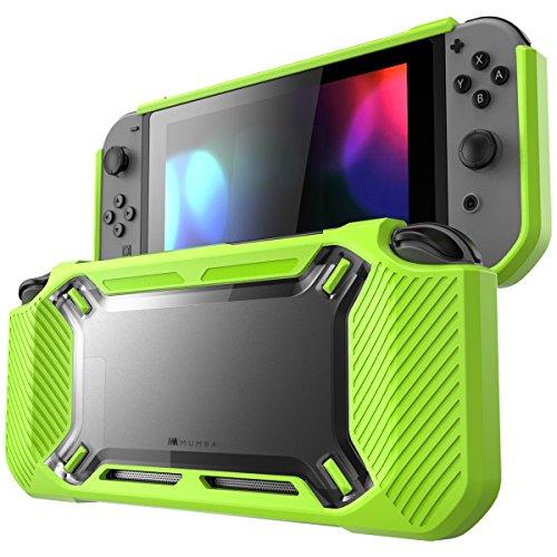 Mumba Hülle für Nintendo Switch [Rugged] Gummiert Case Harte Schutzhülle Schwerlast Cover für Nintendo Switch 2017 Ausgabe, Schwarz/Grün