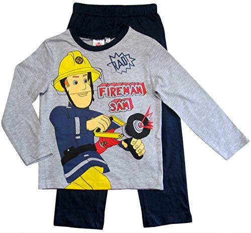 Feuerwehrmann Sam Schlafanzug Jungen Lang Pyjama (Blau-Grau, 104-110)