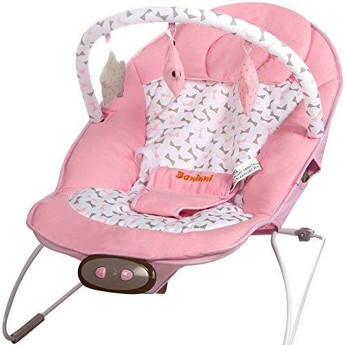 Babywippe Babywiege Nina Mina mit 5 Vibrationsstufen und Musikfunktion mit 8 Melodien rosa blush für Mädchen