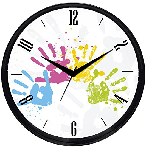 Cartoonpur Round Large Designer Decorative Colourful Palm Prints Wall Clock - Ticking 11-Inch Wall Clock for Home / Bedroom / Living Room / Kitchen