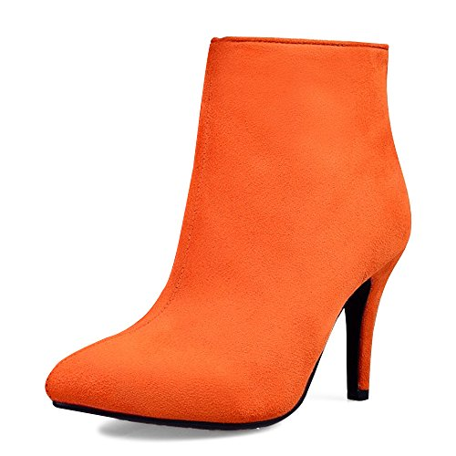 OCHENTA Femme Bottines Suedine Talons Aiguilles Hauts Simple Mode Elegant Chaussure Bottes Orange