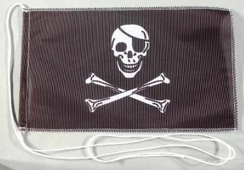 Pirat Piraten Piratenflagge 15x25 cm Tischflagge in Profi - Qualität Tischfahne Autoflagge Bootsflagge Motorradflagge Mopedflagge
