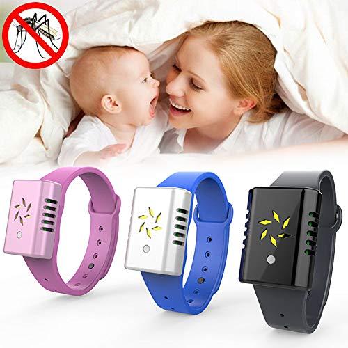 TONGHENG, braccialetto repellente per zanzare, braccialetto repellente per insetti con frequenza regolabile a ultrasuoni, ideale per adulti e bambini all'aperto