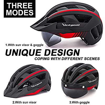 Victgoal Bike Helmet for Men Women with Led Light Detachable Magnetic Goggles Removable Sun Visor Mountain & Road Bicycle Helmets Adjustable Size Adult Cycling Helmets from Victgoal