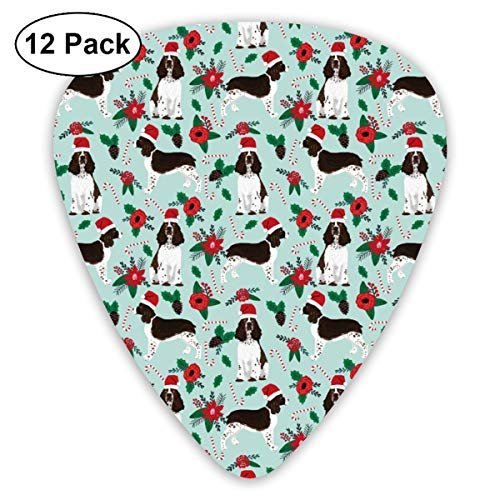 English Springer Spaniel Christmas - Cute Dog Breed Design With Presents, Candy Canes, Food, Xmas Holiday Classic Celluloid Picks, 12-Pack, For Electric Guitar, Acoustic Guitar, Mandolin, And Bass