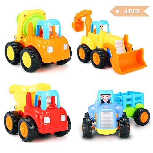 FUNTOK Spielzeugauto Baufahrzeug 4 LKWs Push und Go Reibung angetriebene Sets von 4 Car Tractor Bulldozer Zementmischer und Dumper für Kinder Kinder Bulldozer Bagger Zementmischer Kipper Traktor