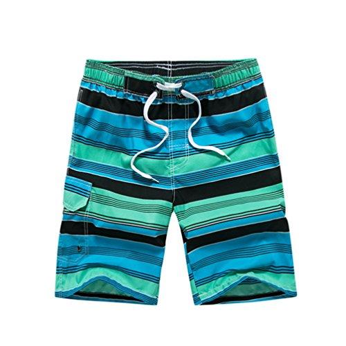 NiSeng Stripes Imprimé Casual Short Hommes Pantalon Court De Plage Boardshorts Vert Noir