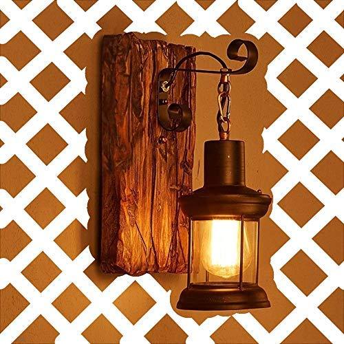 HEYUN Holz Retro Lichter rustikale Wohnzimmer Wandlampe Schlafzimmerwand [Energiestufe A ++]