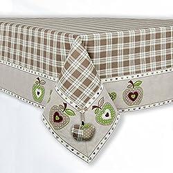 Mantel Cuadrado Rústico Country Chic - Cuadros Escoceses / Manzanas - 140x140 - Beige / Blanco - 100% Algodón