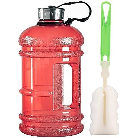 Alta capienza e nuova onda d'ambiente Eastar Resin Sports acqua bottiglia (2.2 Litri) (Rosso) - 2.5 Gallone Bottiglie