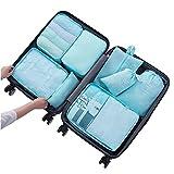 Kofferorganizer Set,JBLCC 8-teiliges, wasserfestes Packwürfel Set für platzsparenden Transport von Gepäck auf Reisen und Geschäftsreisen