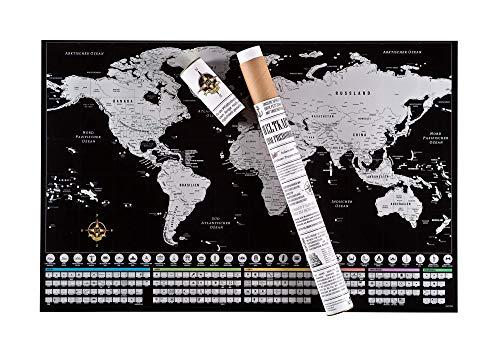 Rubbelwelten Rubbel Weltkarte zum Freirubbeln auf deutsch inklusive Rubbelzubehör I rubbel Landkarte XXL in Silber I tolles Geschenk