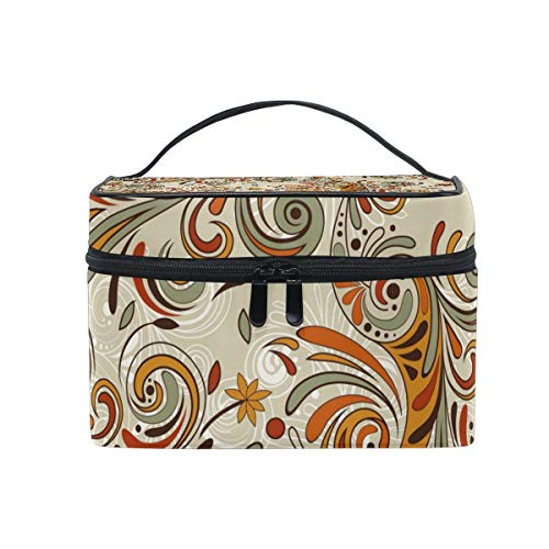Brown Retro Floral Pattern Cosmetic Bag Toiletry Bags Travel Makeup Large Organizer Portable Multifunction Case for Women?Girls -