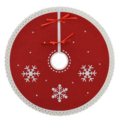 (Mini-Weihnachtsbaum-Rock, 12-Zoll-Filz Schneeflocke Design Xmas Tree Rock, für traditionelle Urlaub Weihnachtsschmuck rot/weiß,Red)