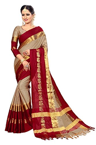 Latest-Fashion-Saree-Womens-Georgette-Saree-with-Blouse-PieceLatest-Collection-Silk-SareeWhite-and-MaroonFree-Size