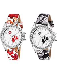The Shopoholic Analogue Black Red Dial Women's Combo Watch-(S-330-331)