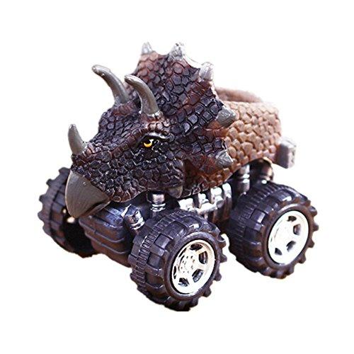 Sun Glower Special Big Tire Wheel Vehicles Spielset Mini Dinosaurier Modell Auto LKW Spielzeug Rückziehspielzeug Kinder Geschenk Perfekt für Ihre Freunde Triceratops (Big Dinosaurier Spielzeug)