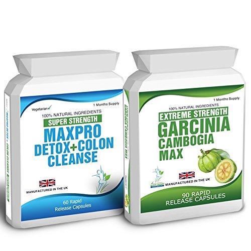 Body Smart Herbals – 90 Garcinia Cambogia & 60 Colon Cleanse Detox Slimming Diet Pills Max Pro