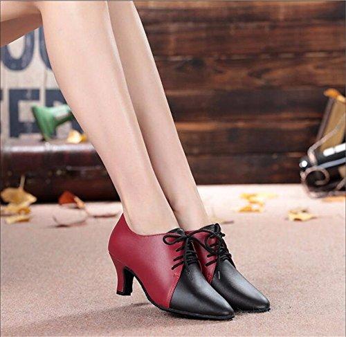 SQIAO-X- Vero Kraft Baotou ballo latino insegnanti scarpe scarpe, Piazza per adulti scarpe da ballo con Low-Fat 6cm (base in plastica)