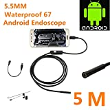 Electro-Weideworld Full HD Boroscopio Endoscopio USB 2.0 Inicio Impermeable Inspección de Tubos Serpiente Video Boroscopio Visual Cámara impermeable IPX67 / 5.5MM lente de la cámara / 6 LED para PC y Android Telefonos with OTG (5M)