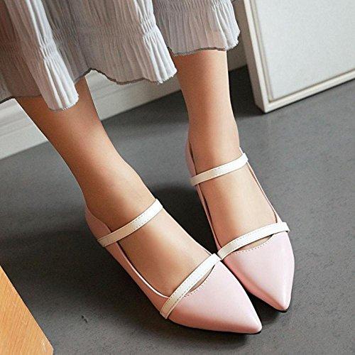 TAOFFEN Damen Elegant Kitten Heel Spitze Toe Schlupfschuhe Pumps Pink 83CUwUk3
