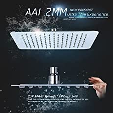 Aai Stainless Steel 304 Ultra Thin Square 8X8 Inch Shower Head (Heavy)