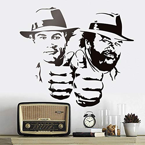 Modeganqingg Lace Pance und Terence Hill Wandaufkleber in Gecko Filme Lustige Porträts Vinyl Applique Klassische Figur Schwarz 48x42cm -