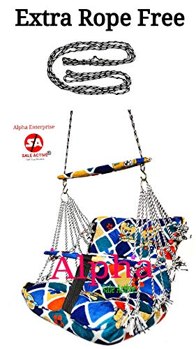 Sale Active Alpha Cotton Swings For 1 To 3 Year Kid's With Safety Belt (MultiColor)