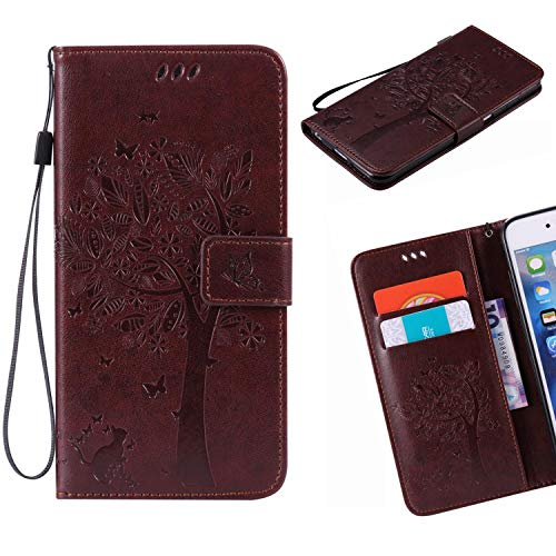 Jonmao Sony Xperia XA1 / Z6 Hülle, Braun Wallet Handyhülle Magnetic Flip PU Leder Stand Schutzhülle für Sony Xperia XA1 / Z6