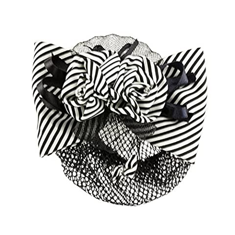 Mytoptrendz ® Satin Bow -Rose Flower Bun Net Cover Snood on French Style Auto Barrette Hair Clip Black and white stripe with satin ribbon