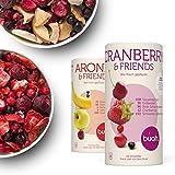 Buah Gefriergetrocknete Früchte, Frühstück-Set mit gefriergetrockneten Erdbeeren, Cranberry, Aronia und weiterem Superfood - 2 große Mischungen zw.138g-156g, gesundes Frühstück