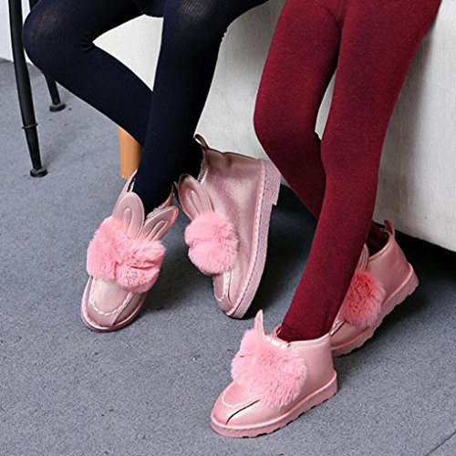 FEITONG Mutter Kind Stiefel Flat Ankle niedlichen Kaninchen Ohren Pelz gezeichneten Winter Warm Schnee Schuhe Rosa(Mutter)