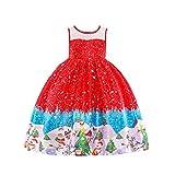 Mädchen Kleinkinder Weihnachten Ärmellos Prinzessin Kleider Ballkleid Karneval Party 140cm 042HRot