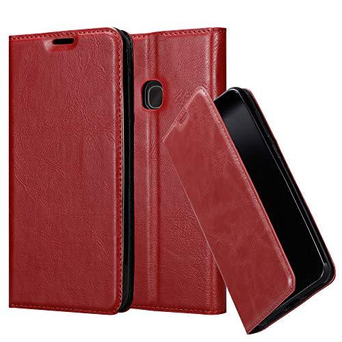 Cadorabo Hülle für Samsung Galaxy A40 in Apfel ROT - Handyhülle mit Magnetverschluss, Standfunktion & Kartenfach - Case Cover Schutzhülle Etui Tasche Book Klapp Style
