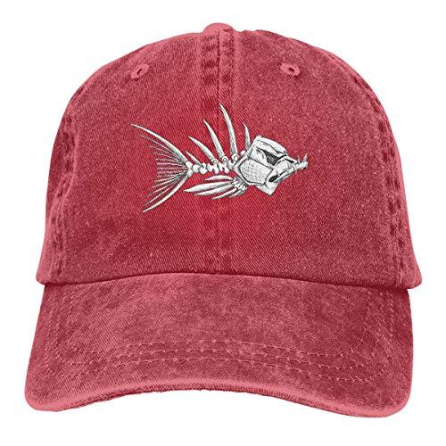 Wfispiy Evil Skeleton Fish Sharp Verstellbare Gewaschene Vintage Baseballmützen Trucker Hat