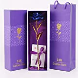 #6: ShopAIS 24K Blue Rose with Gift Box and Carry Bag - Best Gift On Valentine's Day, Rose Day. Blue Dipped Rose with Gift Box
