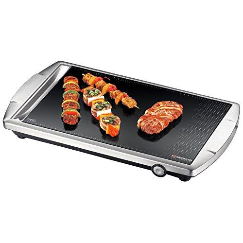 ROMMELSBACHER CG 2303/E Ceran-Grill (Made in Germany, Grillen auf Glas, bis 380°C, Tischgrill mit großer 36x27cm Grillfläche, Warmhaltezone, Reinigungsschaber, 2000 W) Edelstahl